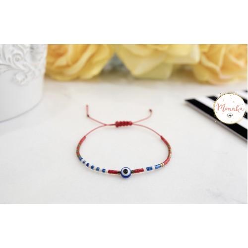 Miyuki Bracelet. Red String Evil Eye Bracelet. Tribal, Boho, Layering Bracelets