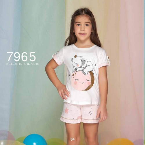 Summer two-piece kids pajamas set for girls - stars