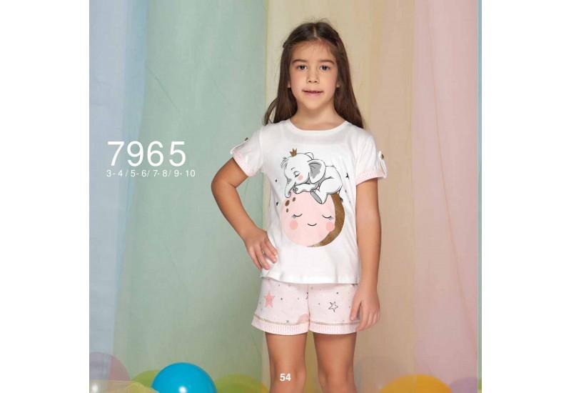 Summer two-piece kids pajamas set for girls - stars