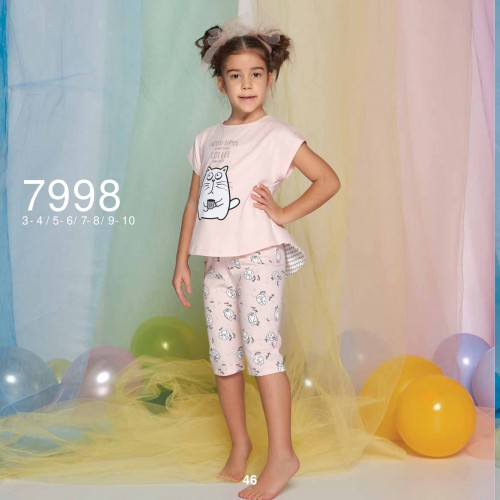 Summer two-piece kids pajamas set for girls