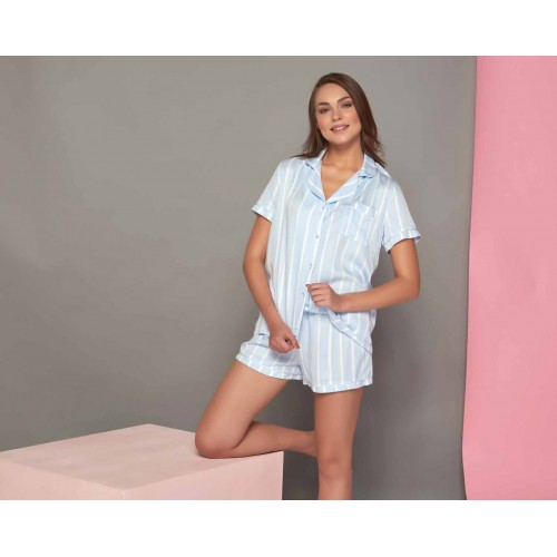 Two-piece summer ladies pajamas set - white and blue stripes