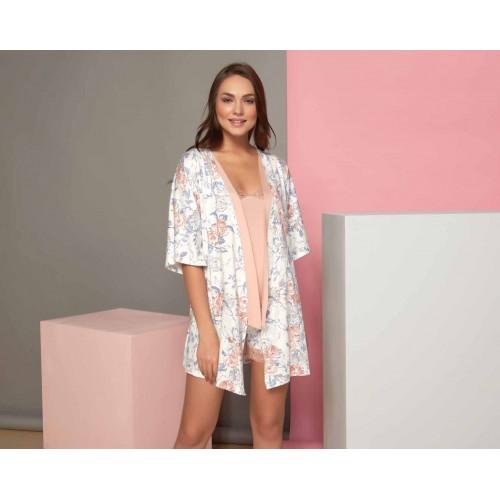 3 - piece summer ladies pajamas set with robe - floral print