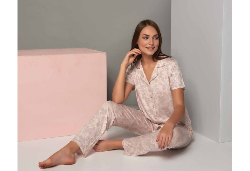 Two-piece women pajamas set in nude colors