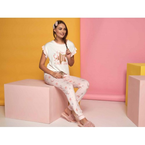 Two-piece women pyjamas set in pink and white with stars print