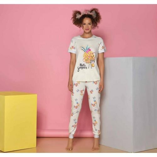 Two-piece ladies pajamas with pineapples