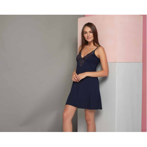 Women's nightgown in deep blue with lace