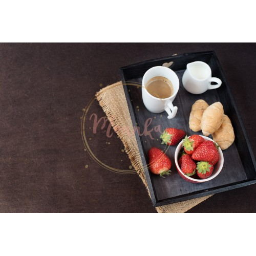 Coffee, mini French pastries and strawberries on wooden tray over black table. Black background - DIGITAL DOWNLOAD PHOTOGRAPHY