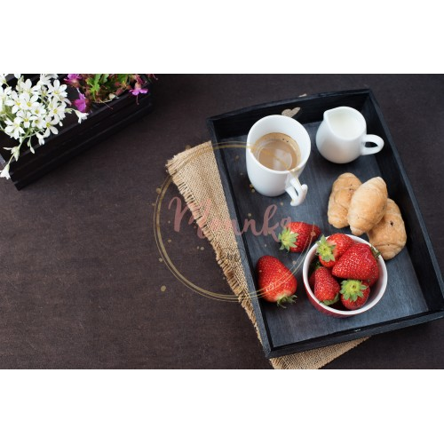 Coffee, mini French pastries and strawberries on wooden tray over black table. White and purple flowers in a decorative wooden crate. Black background - DIGITAL DOWNLOAD PHOTOGRAPHY
