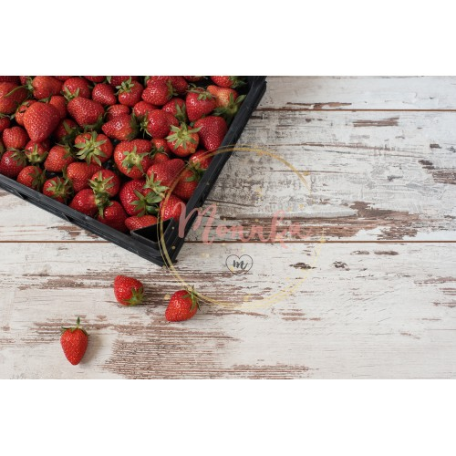 Pile of juicy ripe organic strawberries in a wooden box, crate, on a white background - DIGITAL DOWNLOAD PHOTOGRAPHY