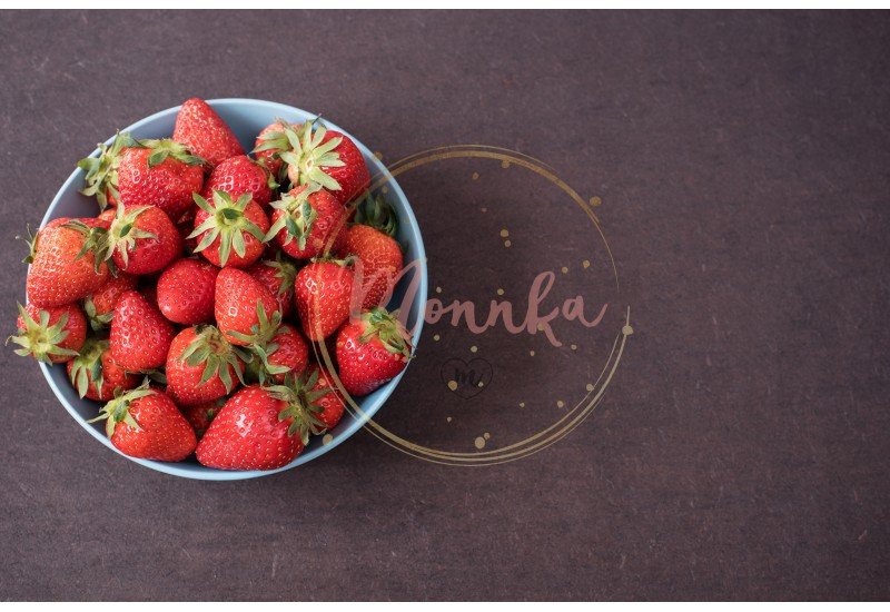 Pile of juicy ripe organic fresh strawberries in a large blue bowl. Dark background. Empty space - DIGITAL DOWNLOAD PHOTOGRAPHY