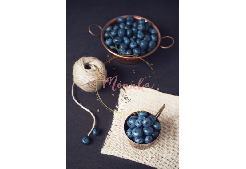 Blueberries dark picture. Fresh fruits, berries in an old copper cup. Dark Styled Stock Photo, Black Background - DIGITAL DOWNLOAD PHOTOGRAPHY