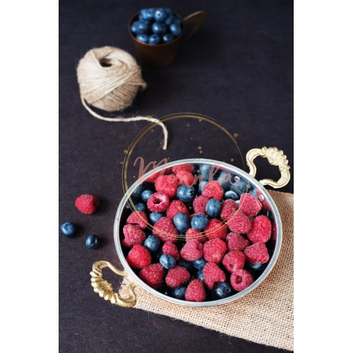 Fresh raspberries and blueberries dark picture with copy space on left. Fresh fruits, berries in an old copper cup, bowl. Dark Styled Stock Photo, Black Background - DIGITAL DOWNLOAD PHOTOGRAPHY