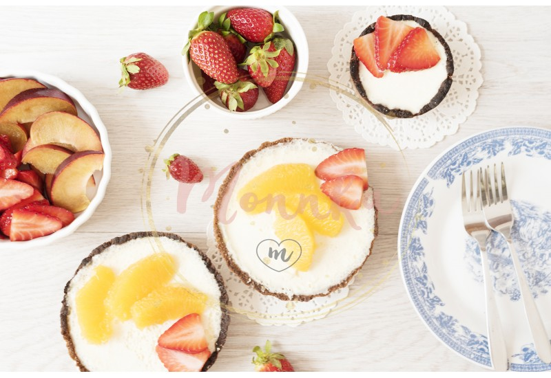 Chocolate tart, tartalette with white chocolate and mascarpone cream, fresh strawberries and orange on top. Gray wooden background. Top view - DIGITAL DOWNLOAD PHOTOGRAPHY