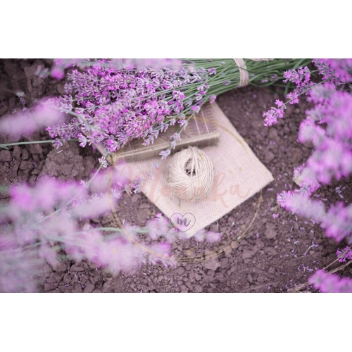 A bouquet of lavender, book and a ball of twine. Lavender flowers between rows of lavender field. Purple tinting, sunny hazy, haze - DIGITAL DOWNLOAD PHOTOGRAPHY
