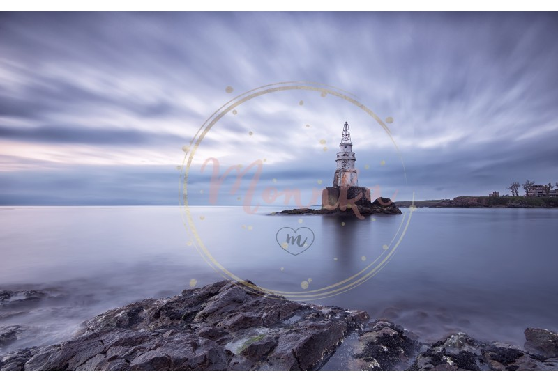 Sunrise of the lighthouse in Ahtopol, Bulgaria. Blue hour seascape. Long exposure - DIGITAL DOWNLOAD PHOTOGRAPHY