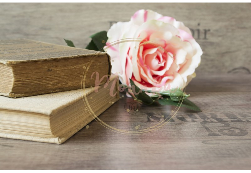 Old books and flower rose on a wooden background. Romantic floral frame background. Picture of a flowers lying on an antique book. Flowers on vintage wood background with romantic vintage background - DIGITAL DOWNLOAD PHOTOGRAPHY