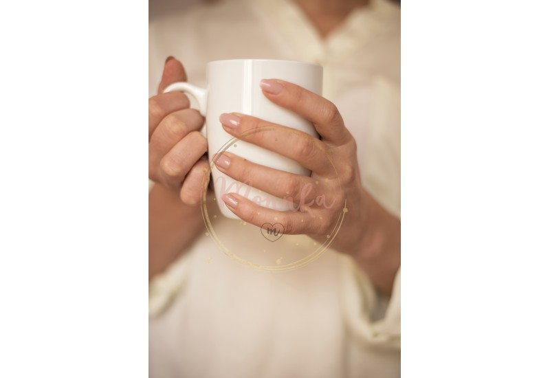 Girl is holding white cup in hands. White mug for woman, gift. Female hands holding hot cup of coffee or tea in morning. Selective focus - DIGITAL DOWNLOAD PHOTOGRAPHY