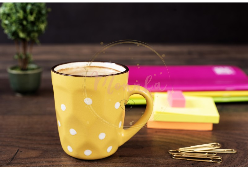 Yellow cup of coffee with white dots. Pretty pink office accessories - notebooks, gold pins, stickers, rubber and polka dot mug, on a wooden desk - DIGITAL DOWNLOAD PHOTOGRAPHY