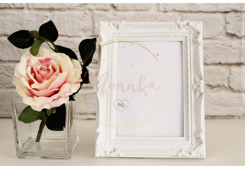 Frame Mockup. White Frame Mock Up, Digital MockUp, Display Mockup, Styled Stock Photography Mockup, Colorful Desktop Mock Up. Floral, vase, flower rose - DIGITAL DOWNLOAD PHOTOGRAPHY