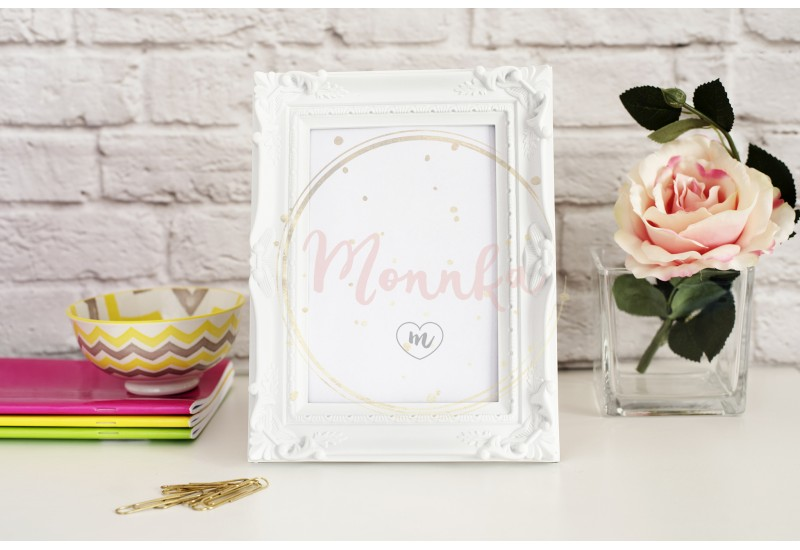 Frame Mockup. White Frame Mock up. White Picture Frame with Single Flower Rose. Product Frame Mockup. Wall Art Display Template - DIGITAL DOWNLOAD PHOTOGRAPHY