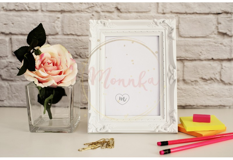 White Frame Mock Up, Digital MockUp, Display Mockup, Styled Stock Photography Mockup, Colorful Desktop Mock Up. Office desk rose neon pencil - DIGITAL DOWNLOAD PHOTOGRAPHY