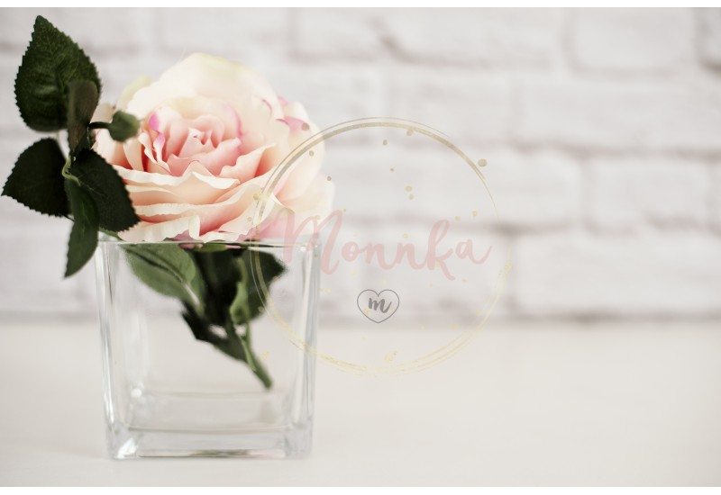 Pink Rose Mock Up. Styled Stock Photography. Floral Styled Wall Mock Up. Rose Flower Mockup, Valentine Mothers Day Card, Giftcard, White Desk Mockup - DIGITAL DOWNLOAD PHOTOGRAPHY