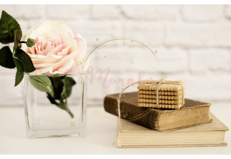 Pink Rose Mock Up. Old Books and Cookies. Styled Stock Photography. Floral Styled Wall Mockup, Valentine Mother Day Holiday Mockup, Card, Giftcard - DIGITAL DOWNLOAD PHOTOGRAPHY