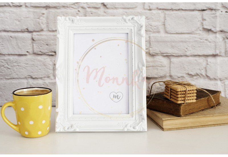 White Frame Mock Up. Yellow Cup Of Coffee With White Dots, Cappuccino, Latte, Old Books, Cookies. Styled Stock Photography . Empty Rustic Frame. Gray Brick Wall. Leisure Lifestyle Concept. Light Rustic Background - DIGITAL DOWNLOAD PHOTOGRAPHY