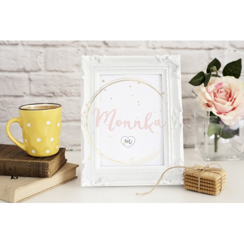 White Frame Mock Up. Yellow Cup Of Coffee With White Dots, Cappuccino, Latte, Old Books, Cookies. Vase with Flower Rose, Styled Stock Photography. Empty Rustic Frame. Gray Brick Wall. Light Rustic Background - DIGITAL DOWNLOAD PHOTOGRAPHY