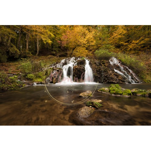 Dokuzak waterfall in Strandja mountain, Bulgaria during autumn. Beautiful view of a river with an waterfall in the forest. Autumn landscape - DIGITAL DOWNLOAD PHOTOGRAPHY