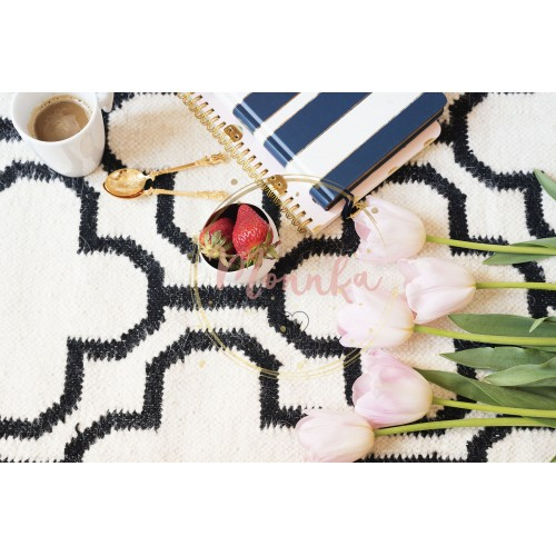 Coffee, strawberries, notebooks on Scandinavian rug. Pink Tulips and Gold Spoons. White black pattern and gold theme. Lifestyle concept. Copy Space - DIGITAL DOWNLOAD PHOTOGRAPHY