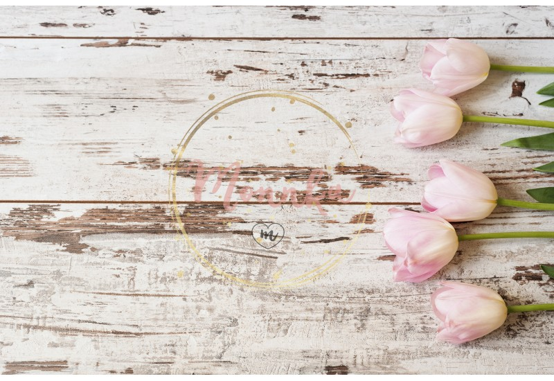 Stunning pink tulips on white light rustic wooden background. Copy space, floral frame. Vintage, haze looking. Wedding, gift card, valentine's day or mothers day background - DIGITAL DOWNLOAD PHOTOGRAPHY