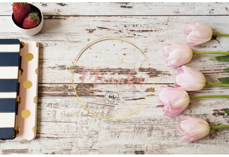 Stunning pink tulips, stripe notebooks and strawberries on white light rustic wooden background. Copy space, floral frame. Wedding, gift card, valentine's day or mothers day background - DIGITAL DOWNLOAD PHOTOGRAPHY