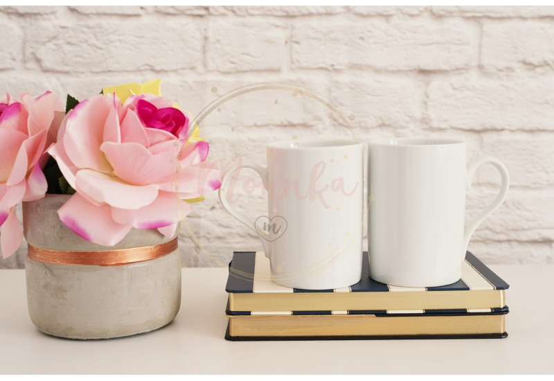 Two Mugs. White Mugs Mockup. Blank White Coffee Mug Mock Up. Styled Photography. Coffee Cup Product Display. Two Coffee Mugs On Striped Design Notebooks. Vase With Pink Roses - DIGITAL DOWNLOAD PHOTOGRAPHY