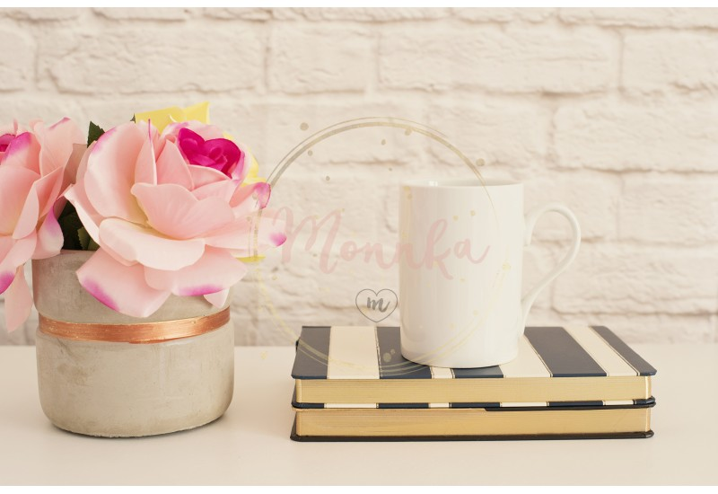 White Mug Mockup. Blank White Coffee Mug Mock Up. Styled Photography. Coffee Cup Product Display. Coffee Mug On Striped Design Notebooks. Vase With Pink Roses - DIGITAL DOWNLOAD PHOTOGRAPHY