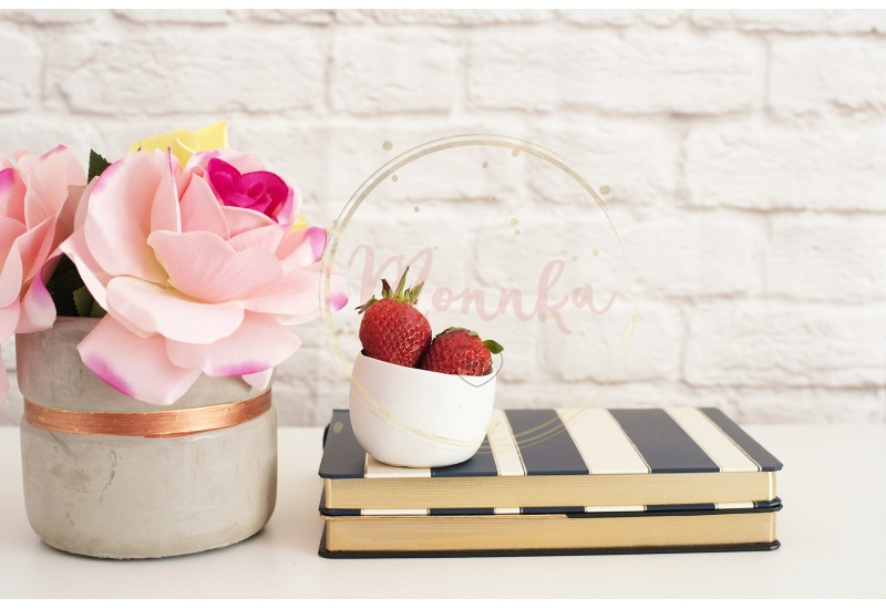 Pink Roses Mock Up. Styled Photography. Brick Wall Product Display. Strawberries On Striped Design Notebooks. Vase With Pink Roses - DIGITAL DOWNLOAD PHOTOGRAPHY