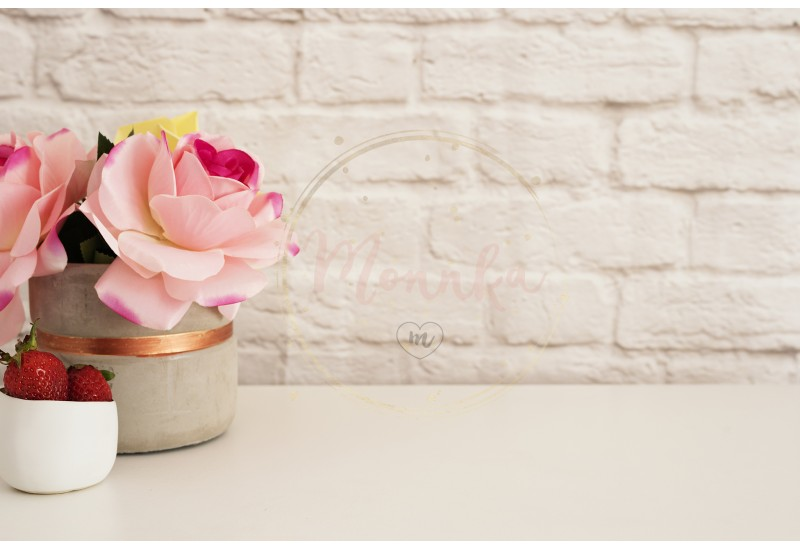 Pink Roses Mock Up. Styled Photography. Brick Wall Product Display. Strawberries On White Desk. Vase With Pink Roses. Fashion Lifestyle - DIGITAL DOWNLOAD PHOTOGRAPHY