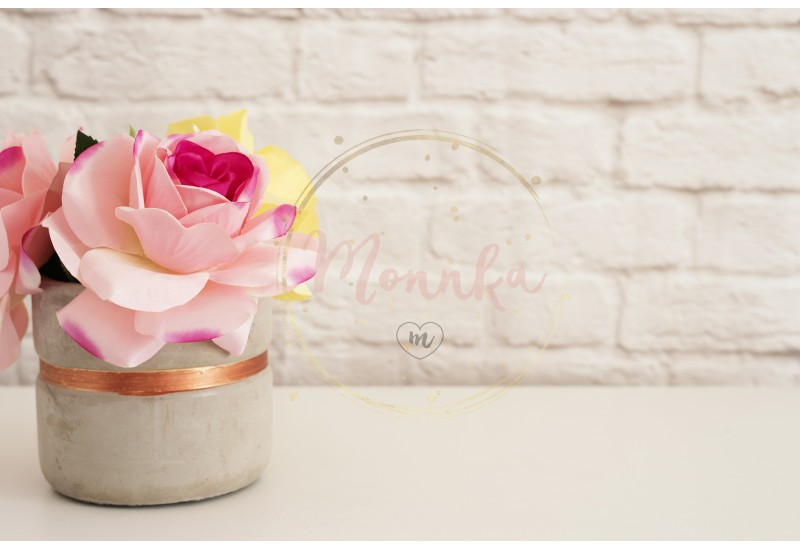 Pink Roses Mock Up. Styled Photography. Brick Wall Product Display. White Desk. Vase With Pink Roses. Fashion Lifestyle - DIGITAL DOWNLOAD PHOTOGRAPHY