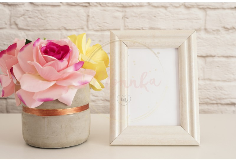 Frame Mockup. White Frame Mock up. Cream Picture Frame, Vase With Pink Roses. Product Frame Mockup. Wall Art Display Template, Brick Wall - DIGITAL DOWNLOAD PHOTOGRAPHY