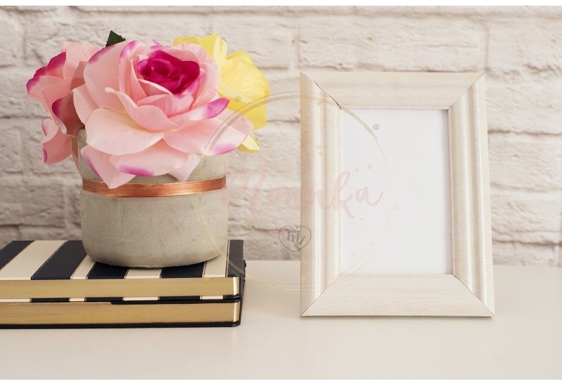 Frame Mockup. White Frame Mock up. Cream Picture Frame, Vase With Pink Roses on Stripe Notebooks. Product Frame Mockup. Wall Art Display Template, Brick Wall - DIGITAL DOWNLOAD PHOTOGRAPHY