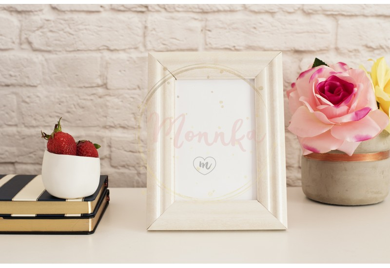 Frame Mockup. White Frame Mock up. Cream Picture Frame, Vase With Pink Roses, Strawberries on Stripe Notebooks. Product Frame Mockup. Wall Art Display Template, Brick Wall - DIGITAL DOWNLOAD PHOTOGRAPHY