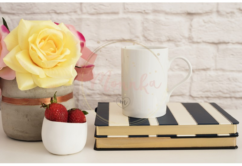 Coffee Cup Product Display. Coffee Mug On Striped Design Notebooks. Strawberries In Gold Bowl, Vase With Pink Roses - DIGITAL DOWNLOAD PHOTOGRAPHY