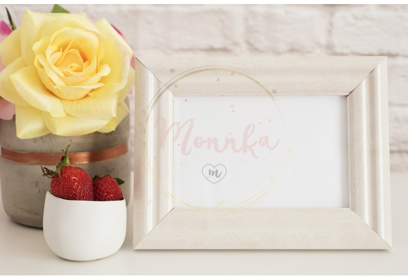 Frame Mockup. White Frame Mock Up. Cream Picture Frame, Vase With Pink Roses, Strawberries In Gold Bowl. Product Frame Mockup. Wall Art Display Template, Brick Wall - DIGITAL DOWNLOAD PHOTOGRAPHY