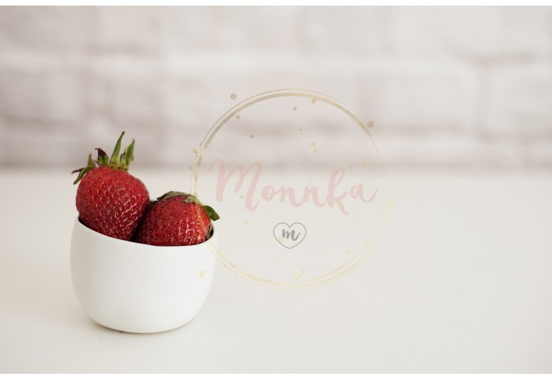 Fresh strawberries in a small white bowl. White background, brick wall. Bright composition - DIGITAL DOWNLOAD PHOTOGRAPHY