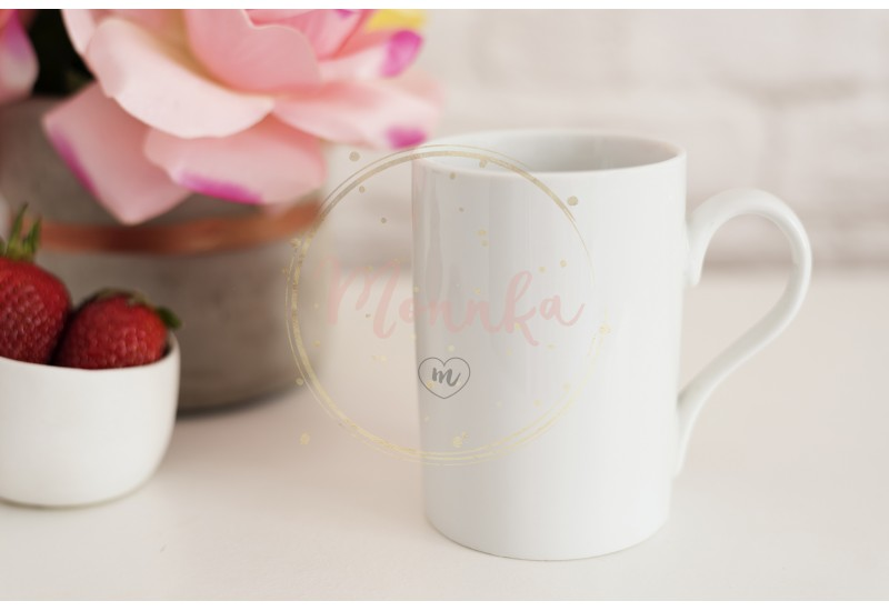 Coffee Cup Product Display. Coffee White Table. Strawberries In Gold Bowl, Vase With Pink Roses - DIGITAL DOWNLOAD PHOTOGRAPHY