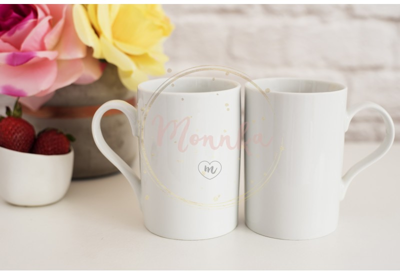 Two Mugs. White Mugs Mockup. Blank White Coffee Mug Mock Up. Styled Photography. Coffee Cup Product Display. Two Coffee Mugs On White Desk. Vase With Pink Roses - DIGITAL DOWNLOAD PHOTOGRAPHY