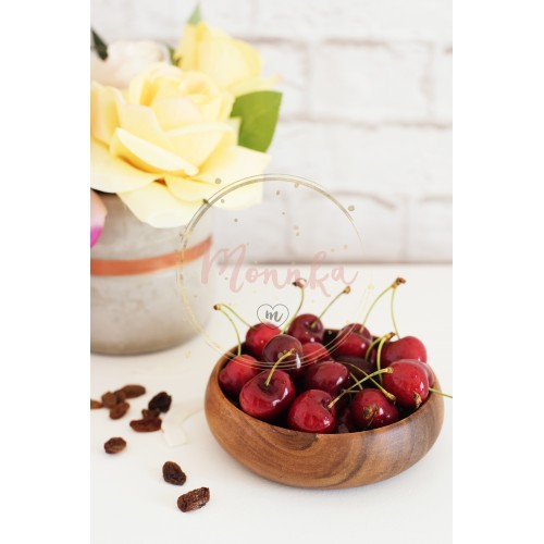 Fresh cherries in a wooden bamboo bowl. Bright Brick Wall Background. Yellow Roses in a Vase. Healthy Lifestyle Concept. Copy Space - DIGITAL DOWNLOAD PHOTOGRAPHY