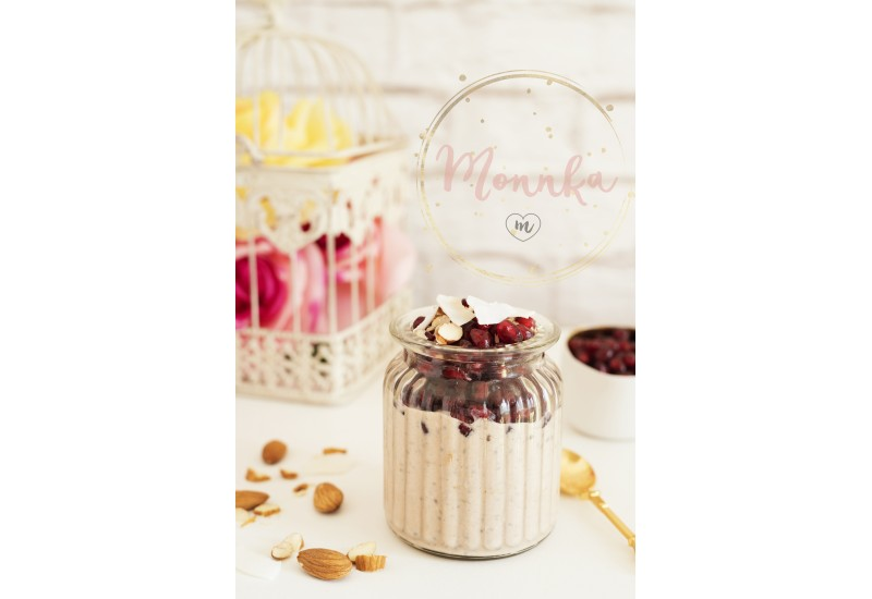 Overnight Chia Pudding With Chia Seeds, Oats, Pomegranate And Coconut Chips. Healthy Breakfast Concept. Bright Brick Wall Background. Yellow Roses in a Cage. Healthy Lifestyle Concept. Copy Space - DIGITAL DOWNLOAD PHOTOGRAPHY