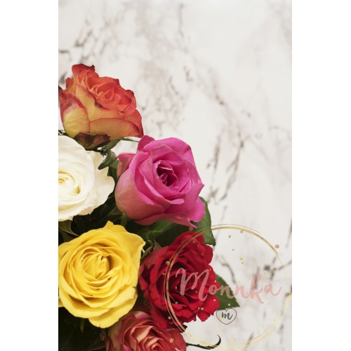 Beautiful fresh flowers on light marble table, top view. Colorful bouquet of roses - DIGITAL DOWNLOAD PHOTOGRAPHY