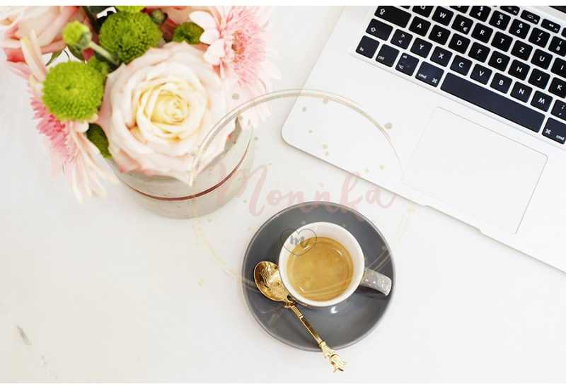 Feminine workplace concept in flat lay style with laptop, coffee, flowers on white marble background. Top view, bright, pink and gold - DIGITAL DOWNLOAD PHOTOGRAPHY